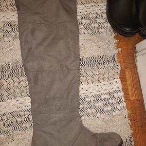 Grey, knee high boots
